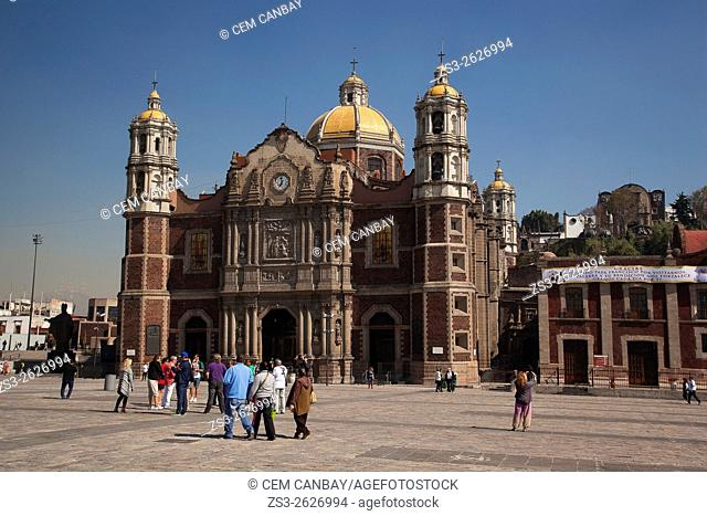 Tourists in front of the Old Basilica Our Lady of Guadalupe, Mexico City, Mexico, Central America