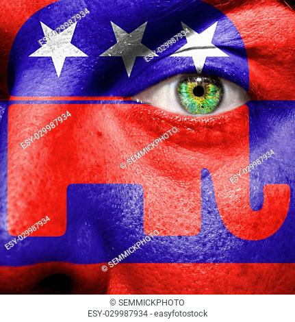Republican party Elephant symbol painted on a mans face to show political support for the Republicans