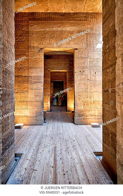 EGYPT, ASWAN, 10.11.2016, stone carving inside ptolemaic temple of Philae, Aswan, Egypt, Africa - Aswan, Egypt, 10/11/2016