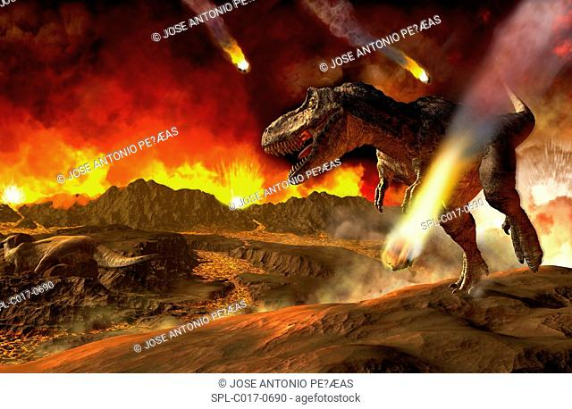 Extinction of the dinosaurs, artwork. Asteroids impacting around a T rex dinosaur. It is thought that an asteroid that impacted Earth around 65 million years...