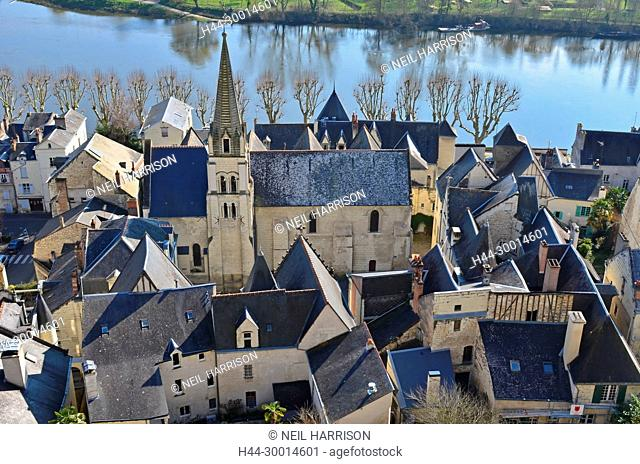 The medieval fortress town of Chinon on the banks of the river Vienne in France