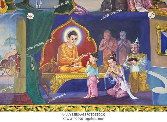 Chaukhtatgyi Paya, paintings that narrate the life of the Buddha, Yangon, Myanmar, Asia