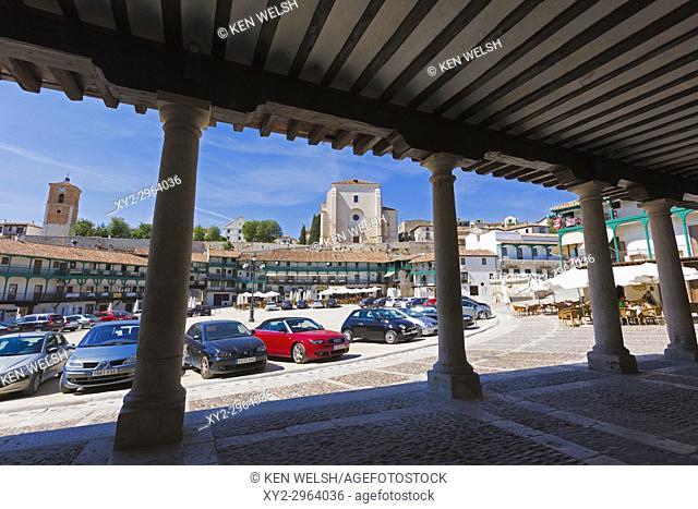 Chinchon, Madrid Province, Comunidad de Madrid, Spain. Plaza Mayor with church of Nuestra Señora de la Asunción in background