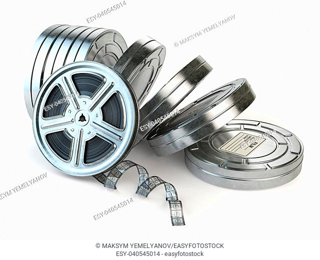 Film reel and boxes. Video, movie, cinema vintage concept. 3d illustration