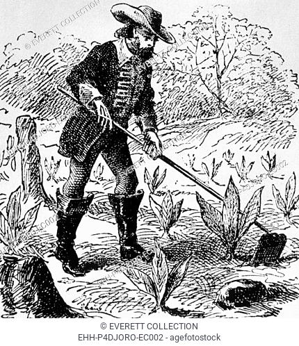 John Rolfe (1585-1622), Jamestown, Virginia colonist known for introducing the cultivation of tobacco in 1612