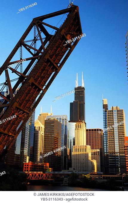 The Kedzie Bridge, permanently open, frames the Chicago skyline