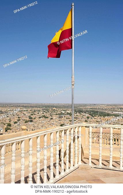 Flag on Royal Complex of sonar fort Jaisalmer Rajasthan India Asia