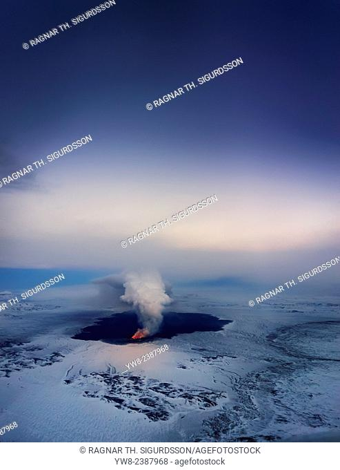 August 29, 2014 a fissure eruption started in Holuhraun at the northern end of a magma intrusion, which had moved progressively north