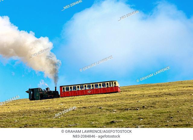 Steam train, Mount Snowdon, Snowdonia National Park, Gwynedd, Wales, UK
