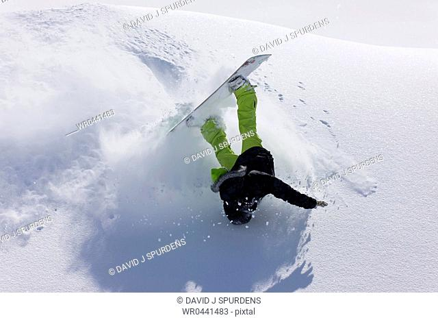 A snowboarder tumbles over in deep fresh powder snow