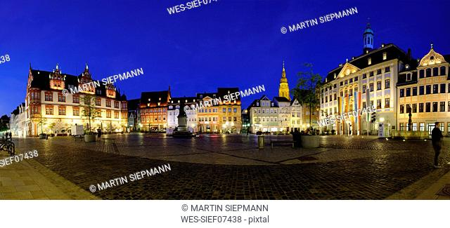Germany, Bavaria, Coburg, market square with town hall and town house at night