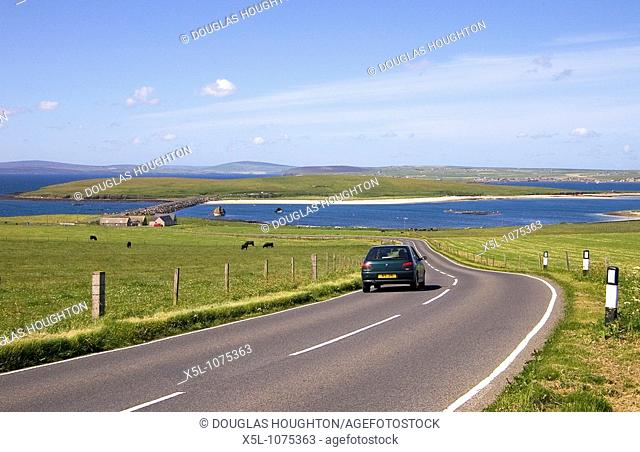 3rd Churchill Barrier CHURCHILL BARRIERS ORKNEY Peugot car road on Burray leading to Glimps Holm via causeway