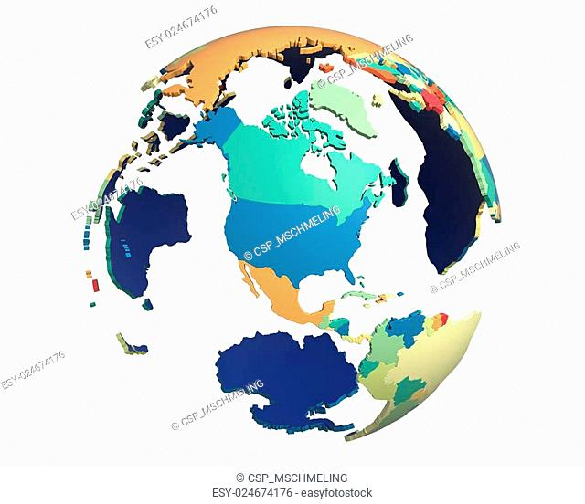 Political Globe, centered on North America