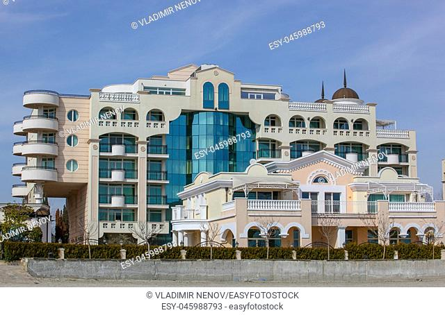 Pomorie, Bulgaria - March 07, 2018: Sunset Resort Hotel Complex Is Situated On The Seashore
