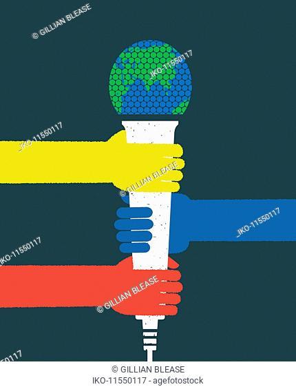 Three hands gripping microphone globe