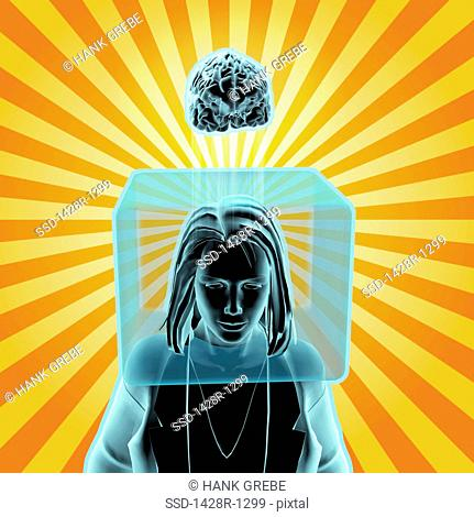 Woman with head inside box and brain outside box radiant orange stripes