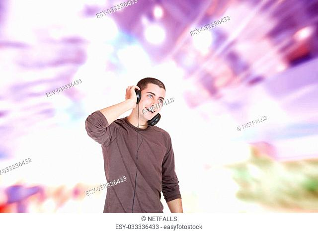 Handsome man over abstract music modern design background