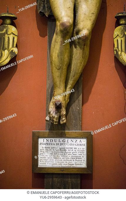 Ancient sign dating from Pope Leo XIII concession of indulgences, church of the Most Holy Trinity of the Pilgrims, Rome, Italy