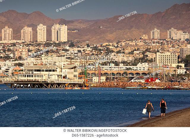 Israel, The Negev, Eilat, Red Sea beachfront, dawn