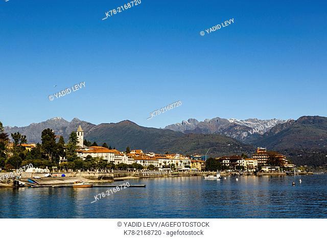 View over Baveno town, Lake Maggiore, Piedmont, Italy