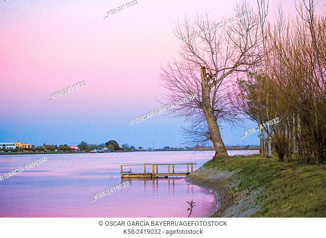 Sunset at Ebro River Delta, Tarragona Province, Catalonia, Spain