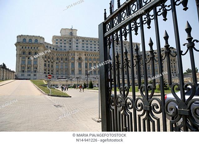 Entrance to The Palace of Parliament, Casa Poporului (House of the People), Bucharest. Romania