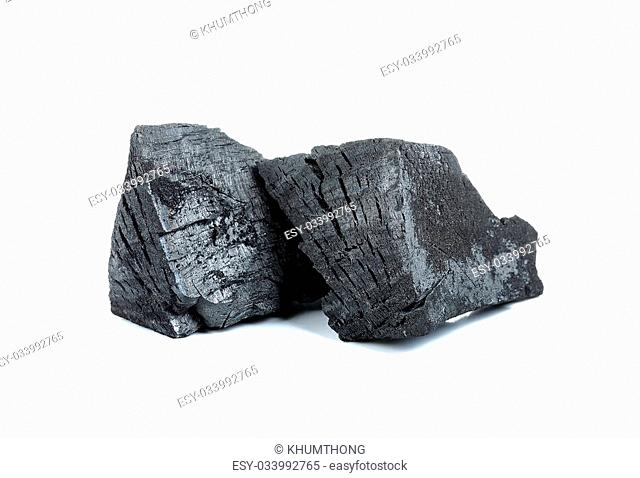 Charcoal isolated on the white background