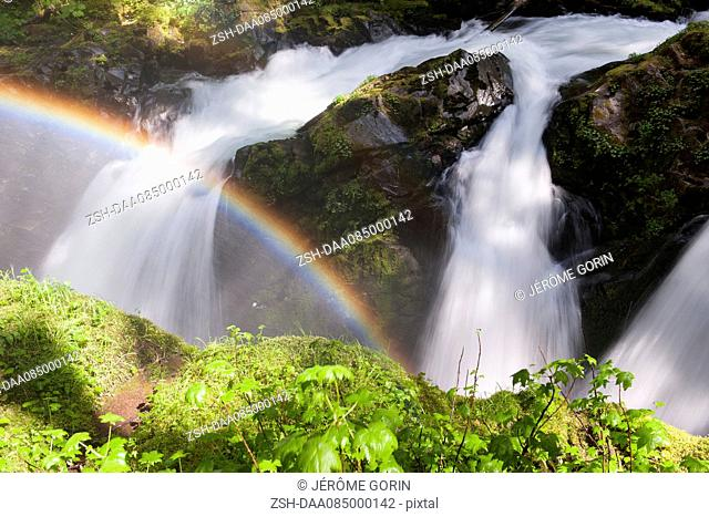 Rainbow over waterfall, Olympic National Park, Washington, USA