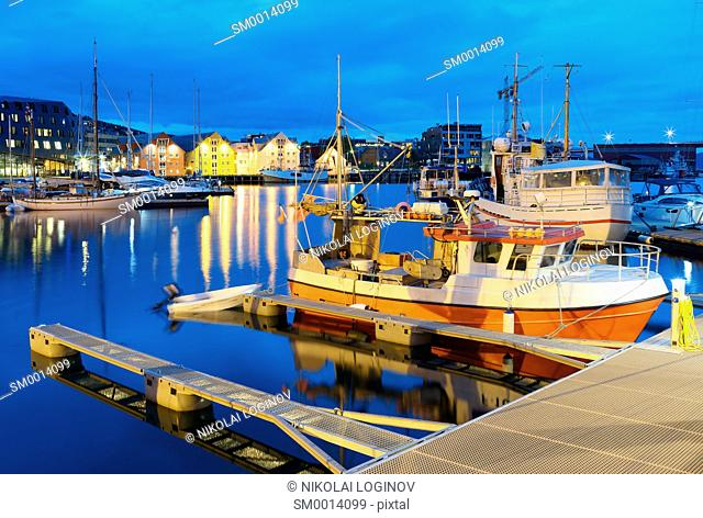 Tromso night quay postcard background hd