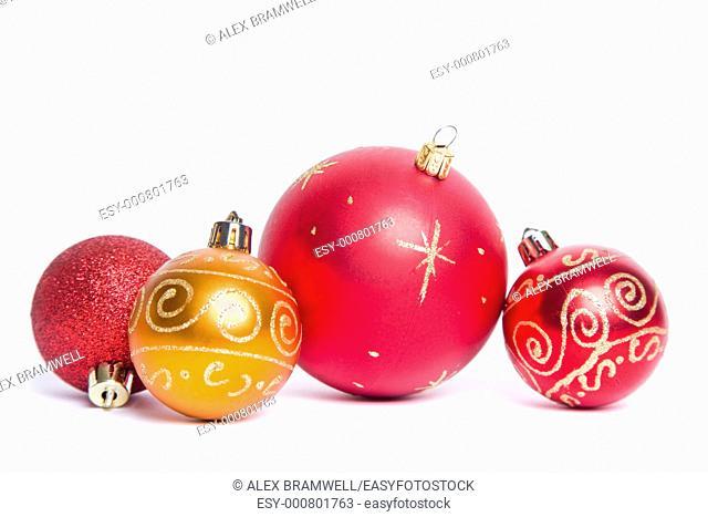 Christmas Bauble Still Life over white