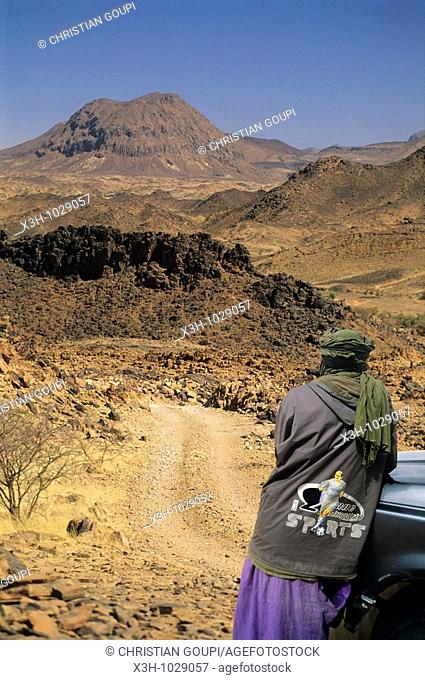 trail in foothills of Bagzans in Aïr,Niger,Western Africa