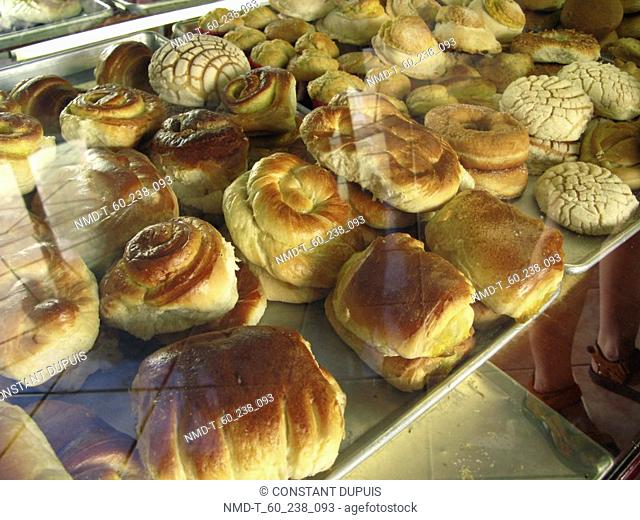 High angle view of assorted buns in a bakery, Valladolid, Yucatan, Mexico