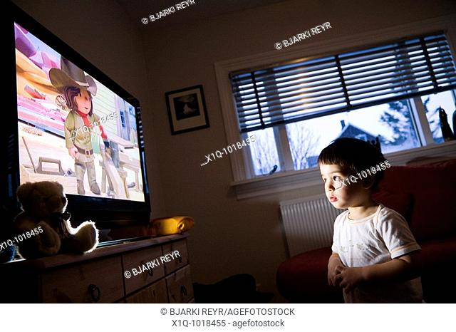 Young boy watching Bob the Builder on television at home  Iceland