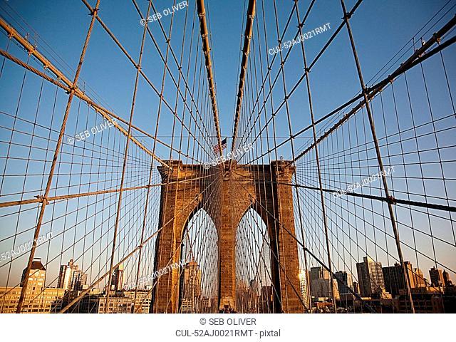 Suspension wires on urban bridge