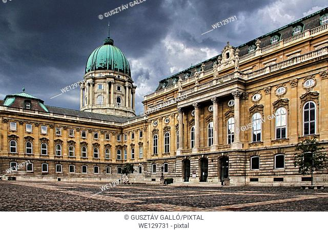Budapest, Hungary Buda Castle courtyard storm clouds