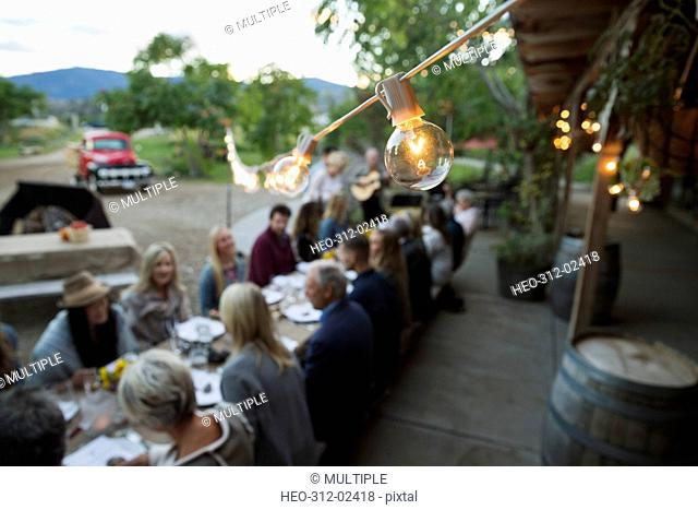 String light light bulb over harvest dinner party