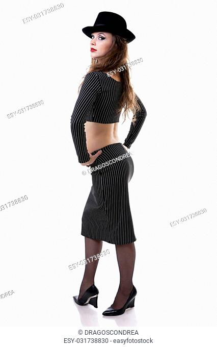 Sexy girl with a hat full body shot isolated on white background studio shot