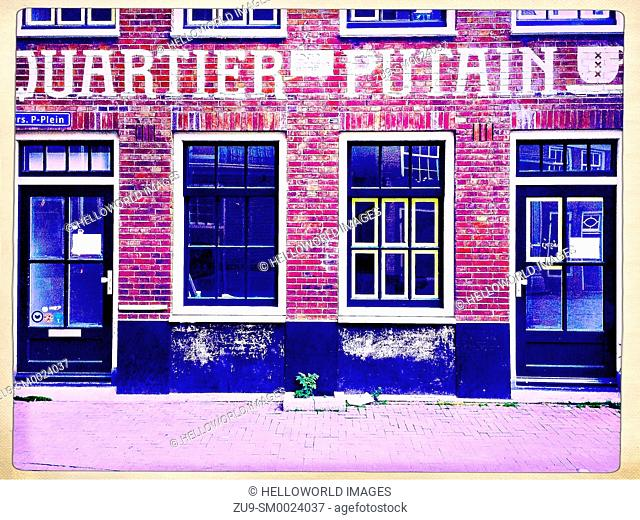 Quartier Putain, Oudekerksplein, Amsterdam, Netherlands. Cafe in the red light district (De Wallen), whose name translates to whore district