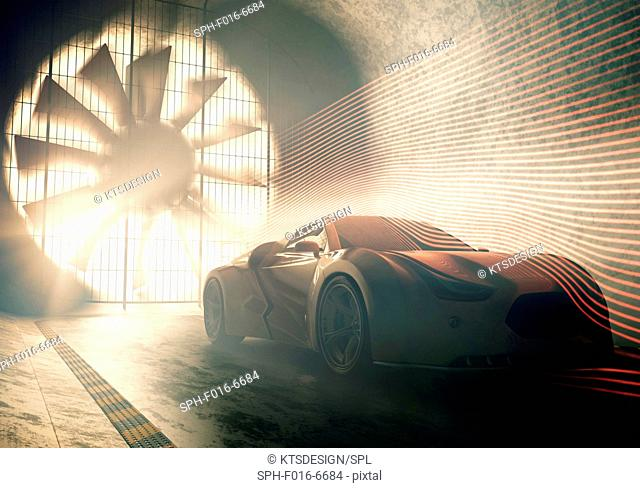 Sports car in wind tunnel, illustration