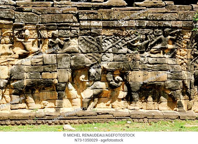 Cambodia, Siem Reap Province, Angkor site listed as World Heritage by UNESCO, former city of Angkor Thom, Elephants Terrace