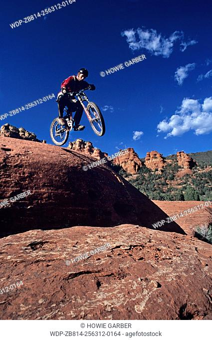 Chad jumping, Cow Pies Trail, Coconino National Forest, Sedona, Arizona