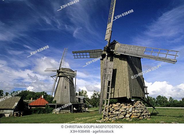 moulins a vent d'Angla, ile de Saaremaa,region de Saare,Estonie,pays balte,europe du nord