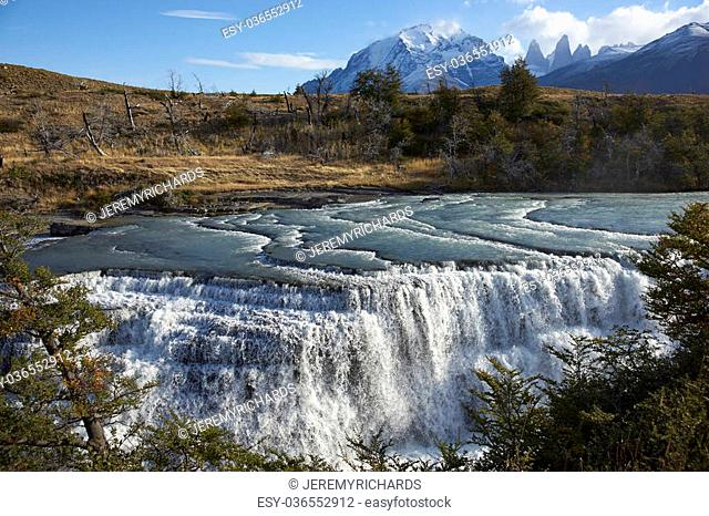 "The waterfall """"Cascada Paine"""" on the River Paine in Torres del Paine National Park in the Magallanes region of southern Chile"