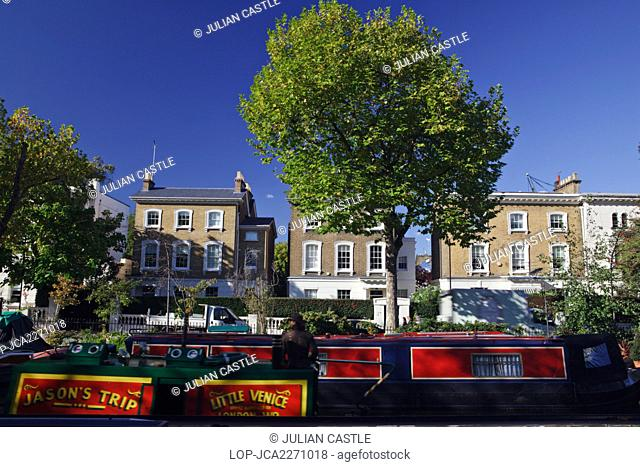 England, London, Little Venice. Barges at Little Venice, an area close to Paddington where the Grand Union and Regent's Canals meet