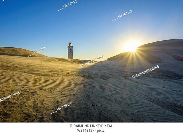 Lighthouse and Dune Rubjerg Knude with Sun, Løkken, Lokken, North Jutland, Denmark
