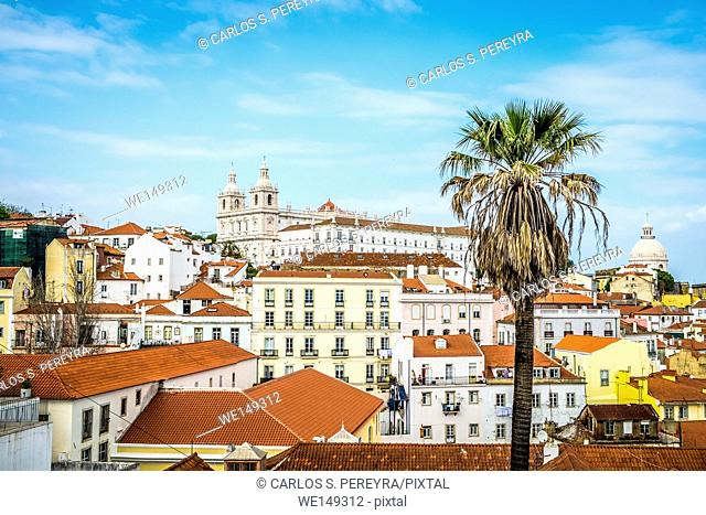 Panoramic of Alfama district in Lisbon Portugal Europe