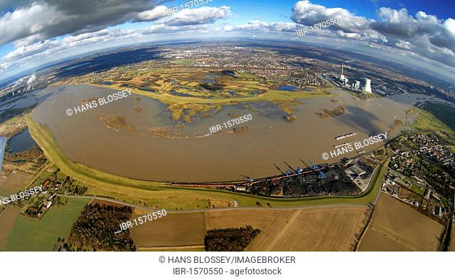 Aerial view, fisheye, river Rhein bend with high water in Walsum, Duisburg, Niederrhein region, Ruhrgebiet region, North Rhine-Westphalia, Germany, Europe