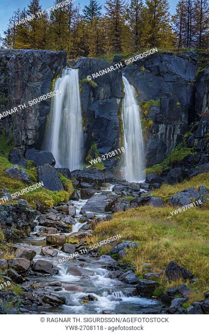 Waterfall in the autumn, Egilsstadir, Iceland