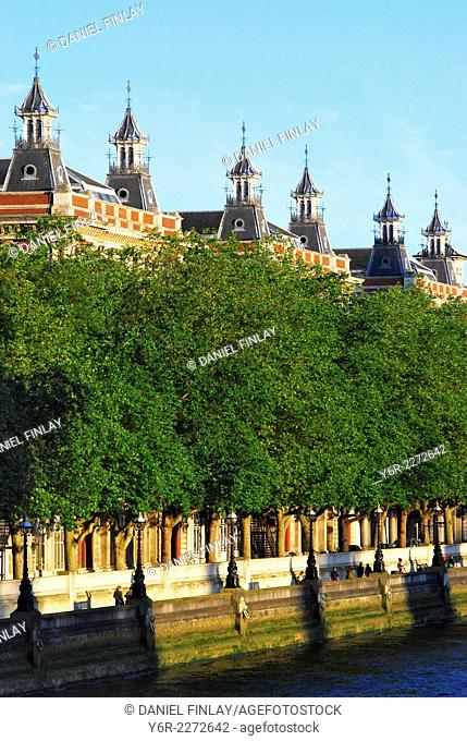 The Albert Embankment on the opposite side of the River Thames to the Houses of Parliament. in London, England