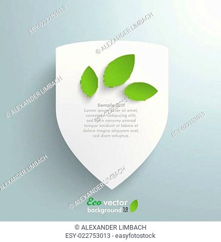White Protection Shield Green Leaves